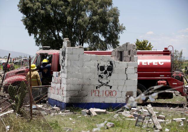 Lugar de explosión en Tultepec
