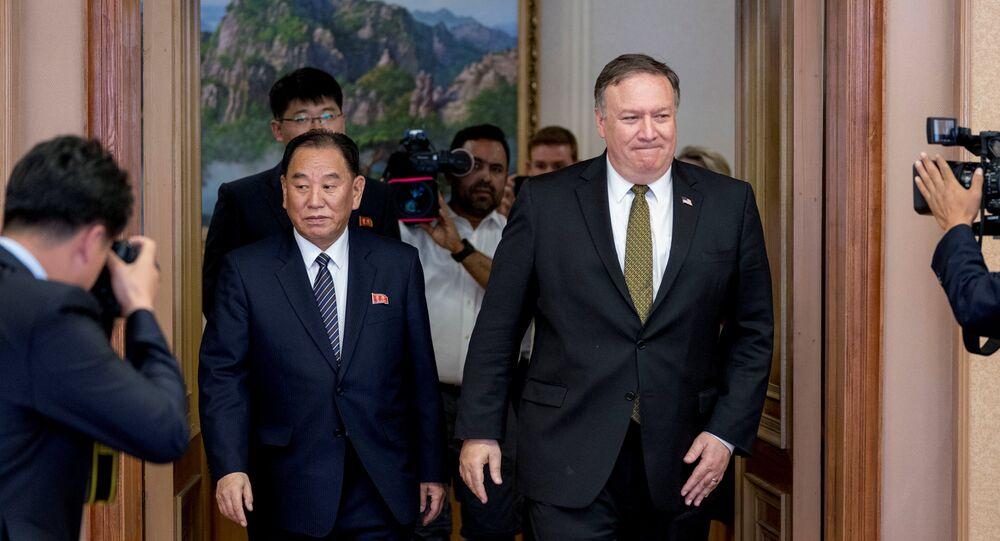 Vicepresidente del Partido de los Trabajadores Coreanos, Kim Jong-chul, y secretario de Estado de EEUU, Mike Pompeo