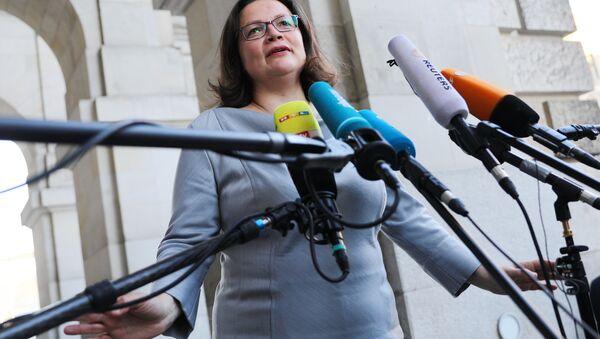 Líder del partido Social Demócrata de Alemania, Andrea Nahles - Sputnik Mundo