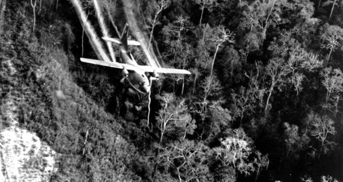 Un avión militar estadounidense arroja el defoliante Agente Naranja, durante la Guerra de Vietnam
