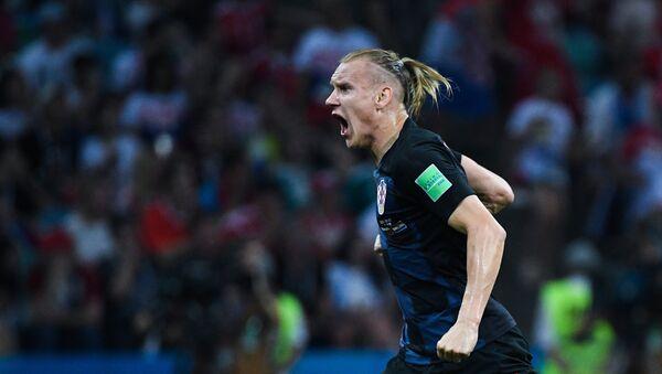 Domagoj Vida (Croacia) tras un gol anotado en el partido de los 1/4 del final entre los equipos nacionales de Rusia y Croacia - Sputnik Mundo