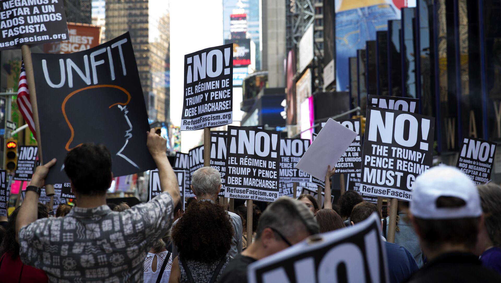 Una manifestación contra Donald Trump en Nueva York, EEUU (archivo) - Sputnik Mundo, 1920, 12.07.2018