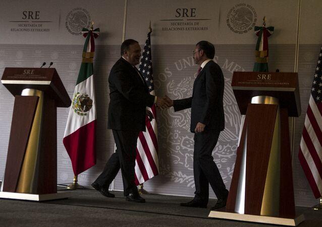 Luis Videgaray, el canciller de México y Michael Pompeo, el secretario de Estado de EEUU