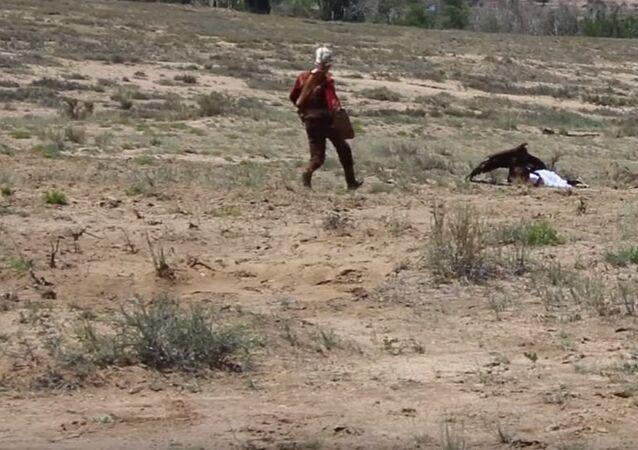 Ataque de un águila en Kirguistán