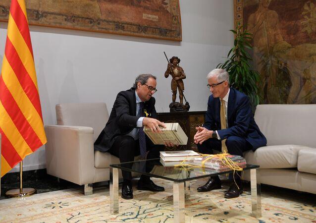 El presidente del Gobierno catalán, Quim Torra, y el primer ministro de Flandes, Geert Bourgeois