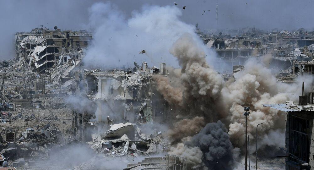 Bombardeos de las posiciones de los terroristas en Siria
