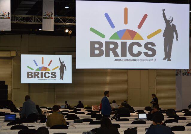 Logo de la cumbre de los BRICS en Sudáfrica (archivo)