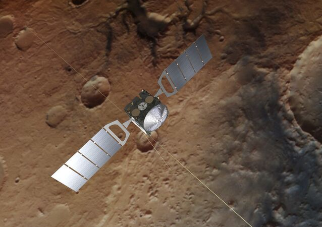 Una ilustración del satélite Mars Express sobre la superficie de Marte