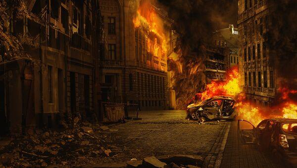 Una ciudad en llamas (imagen referencial) - Sputnik Mundo