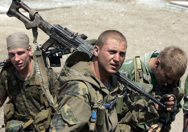 Los soldados rusos durante la Guerra de Osetia del Sur
