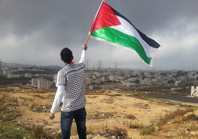 Un hombre ondea una bandera de Palestina
