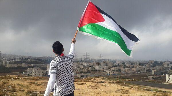 Un hombre ondea una bandera de Palestina - Sputnik Mundo