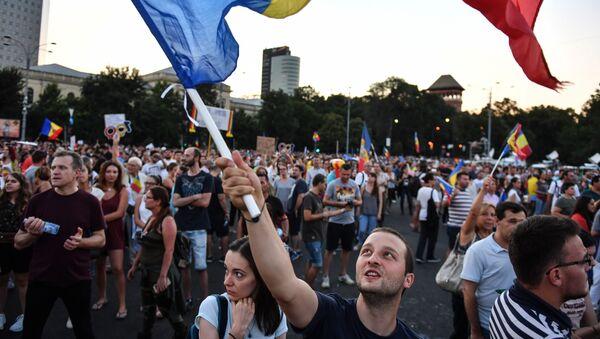 Protesta contra el Gobierno en Bucarest - Sputnik Mundo
