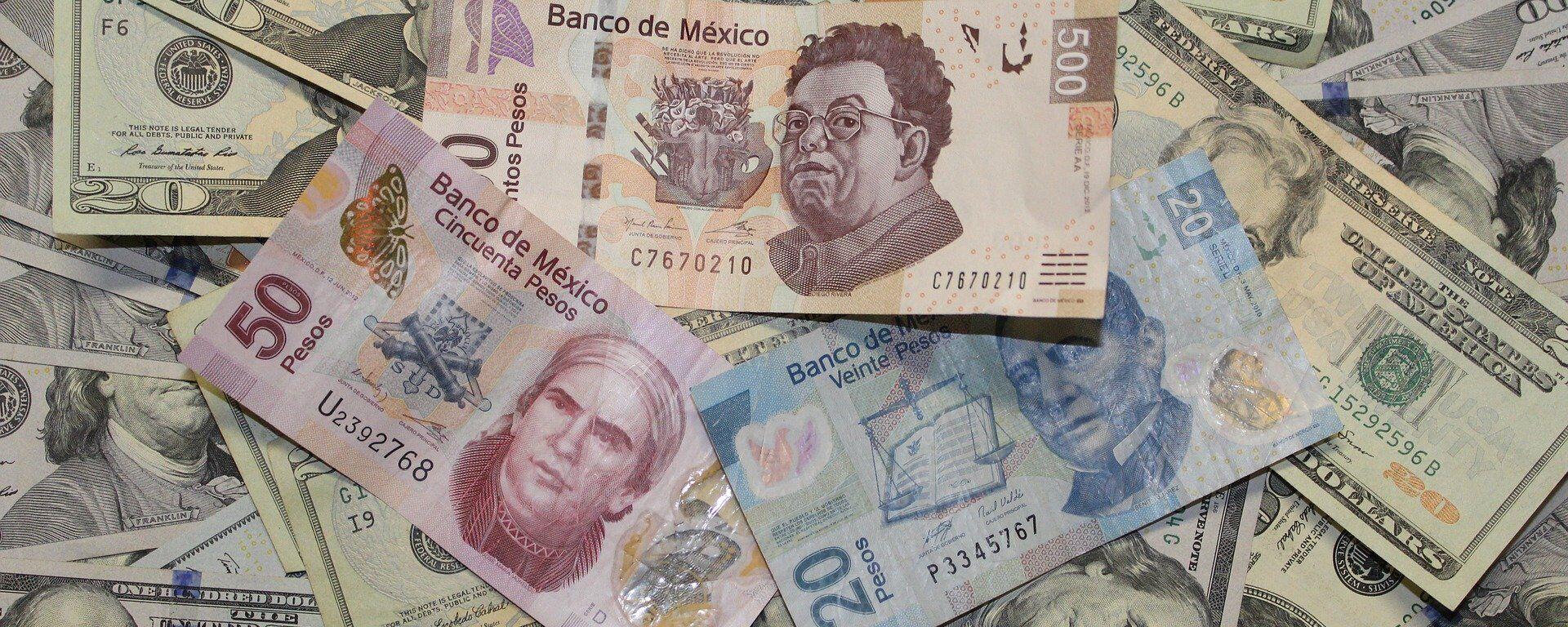 Pesos mexicanos y dólares estadounidenses - Sputnik Mundo, 1920, 06.08.2021