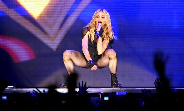 Madonna durante su tour 'Sticky and Sweet' en el estadio Maracana en Rio de Janeiro, en diciembre de 2008 - Sputnik Mundo