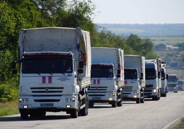 Convoy humanitario ruso llega a Donetsk