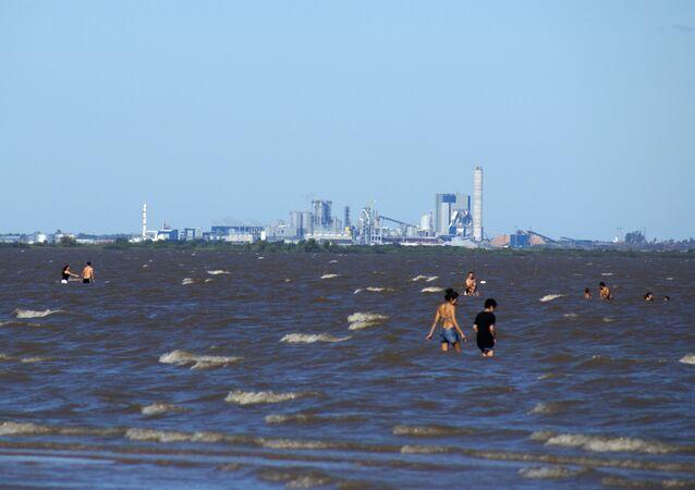 La planta de celulosa en Fray Bentos sobre el río Uruguay vista desde la costa argentina