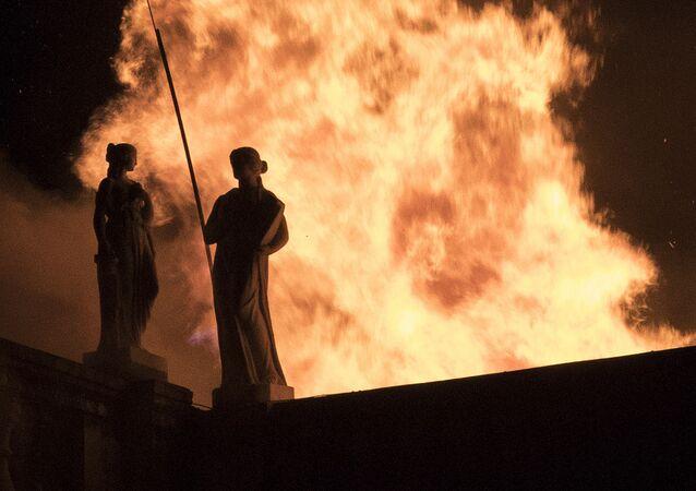 Incendio que destruyó el Museo Nacional de Río de Janeiro