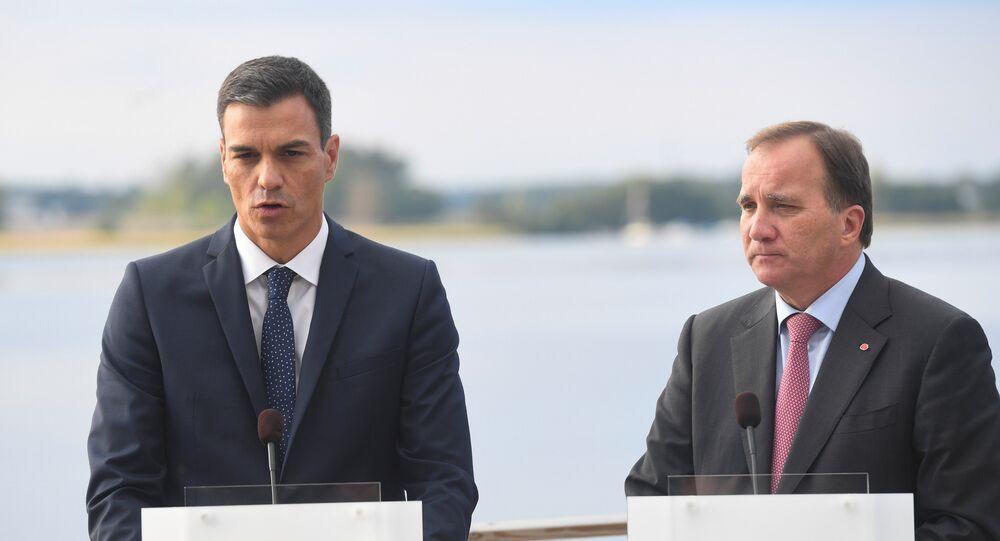 El presidente del Gobierno español, Pedro Sánchez, y el primer ministro sueco, Stefan Lofven