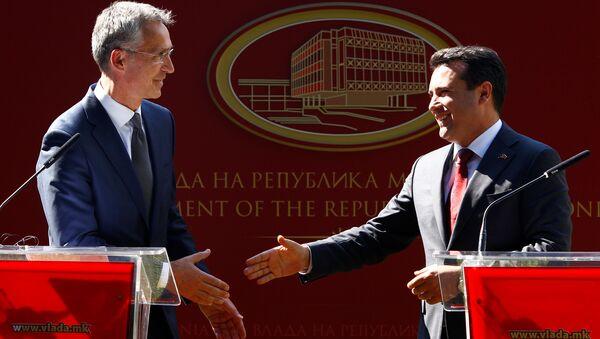 Jens Stoltenberg, el secretario general de la OTAN y Gjorge Ivanov, el presidente de Macedonia - Sputnik Mundo