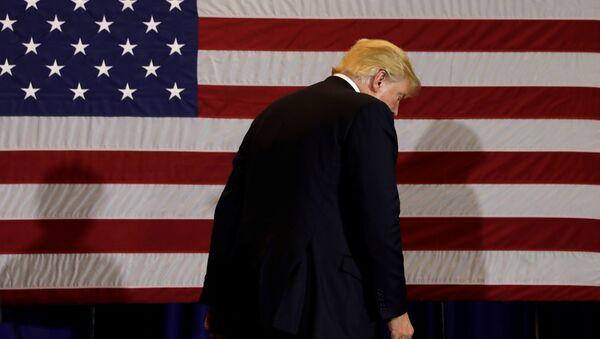 Presidente de EEUU, Donald Trump, con la bandera del país al fondo - Sputnik Mundo