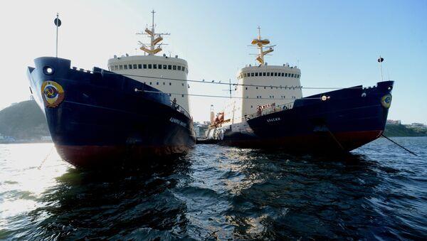 Unos rompehielos de la empresa rusa de transporte FESCO en Vladivostok, parte de la Ruta Marítima Norte - Sputnik Mundo