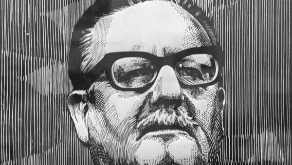 Una reproducción de la xilografía Allende, del artista Luis Miguel Valdes (Cuba). 1975. - Sputnik Mundo