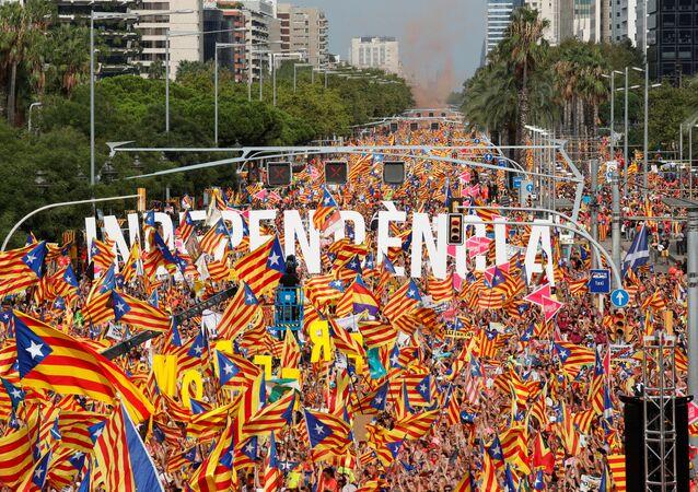 Manifestación en Cataluña a favor de independencia