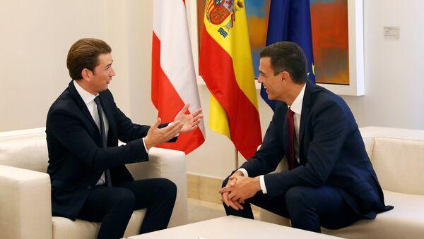 Primer ministro de Austria, Sebastian Kurz, y presidente del Gobierno español, Pedro Sánchez - Sputnik Mundo