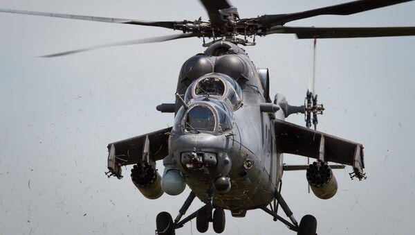 Mi-35M helicopters on training flights in Krasnodar Territory - Sputnik Mundo