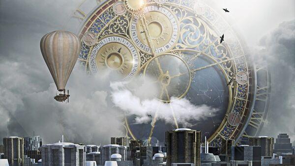 Un enorme reloj en el cielo sobre una ciudad - Sputnik Mundo