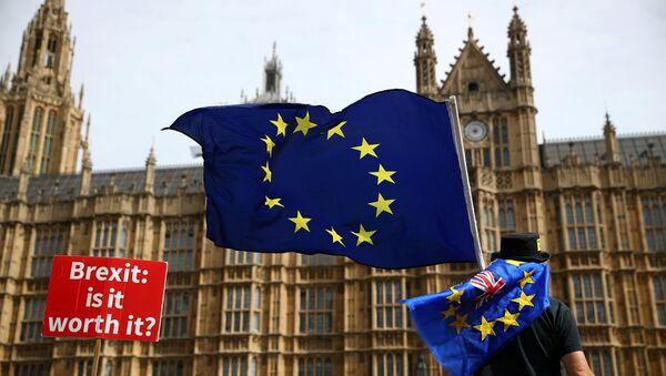 Un manifestante con la bandera de la UE en Londres, el Reino Unido - Sputnik Mundo