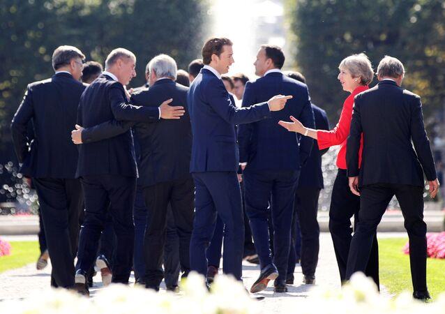 Los líderes europeos en Salzburgo, Austria