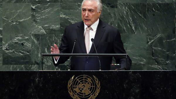 Michel Temer, presidente de Brasil en la Asamblea General de la ONU - Sputnik Mundo