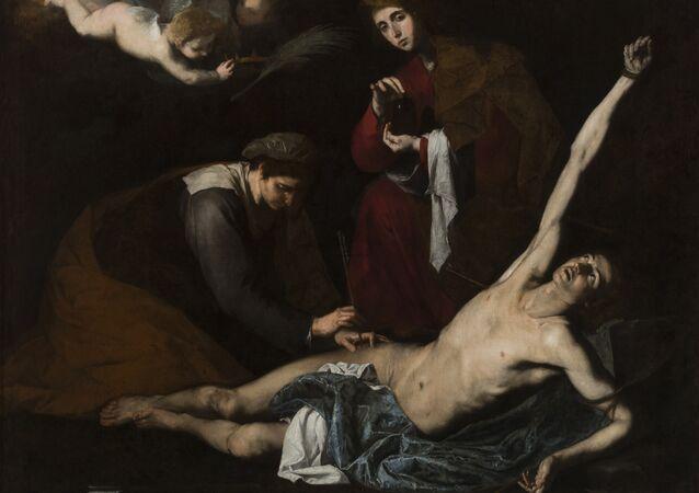 San Sebastián curado por las santas mujeres