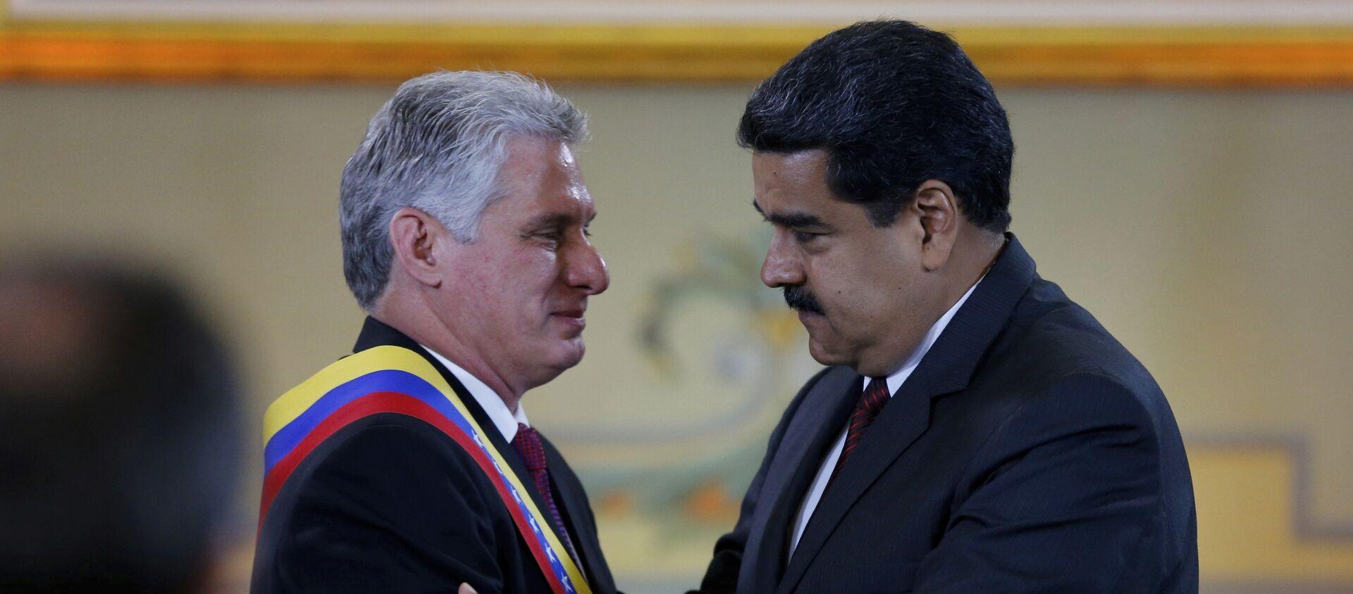 Miguel Díaz-Canel, presidente de Cuba y Nicolás Maduro, presidente de Venezuela (Archivo) - Sputnik Mundo, 1920, 20.01.2021
