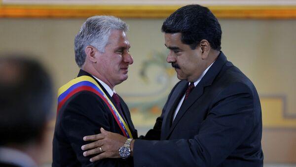 Miguel Díaz-Canel, presidente de Cuba y Nicolás Maduro, presidente de Venezuela (Archivo) - Sputnik Mundo
