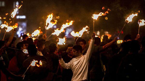 Manifestación para exigir justicia a cuatro años de la desaparición forzada de 43 estudiantes de Ayotzinapa - Sputnik Mundo