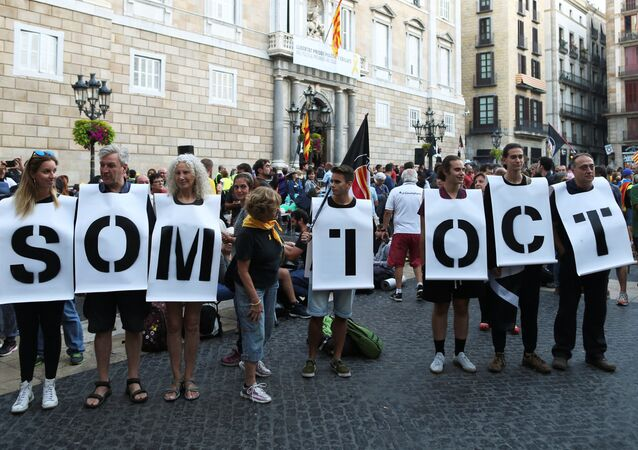 El primer aniversario del referéndum de independencia prohibido celebrado en Cataluña el 1 de octubre de 2017