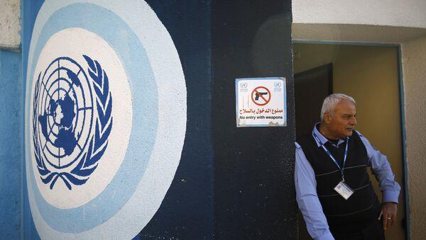 Un empleado de la UNRWA en la sede de la organización en Gaza (archivo) - Sputnik Mundo