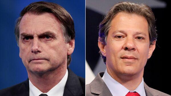 Montaje con Jaír Bolsonaro, a la izquierda, y Fernando Haddad, a la derecha, los dos principales candidatos a la presidencia de Brasil. - Sputnik Mundo