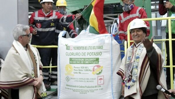 Evo Morales durante la inauguración de la fábrica de cloruro de potasio en salar de Uyuni - Sputnik Mundo