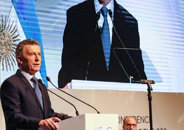 Mauricio Macri, el presidente argentino, durante la apertura del J20
