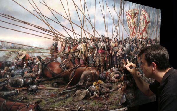 El pintor español Augusto Ferrer-Dalmau pinta el cuadro 'Rocroi, el último tercio' (2011) - Sputnik Mundo