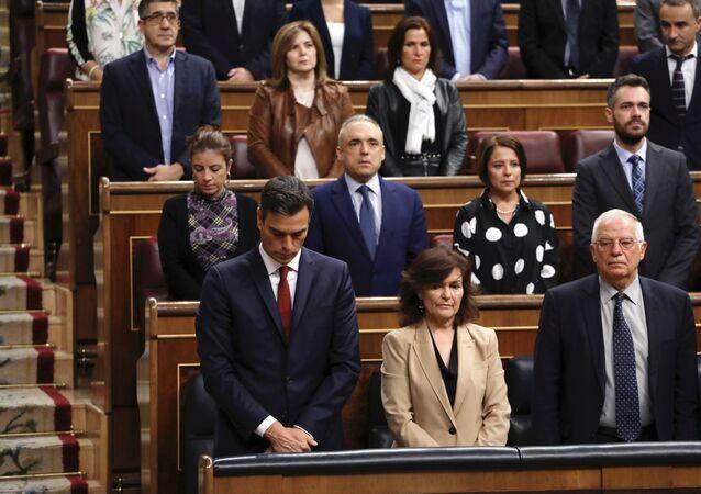 El presidente del Gobierno español, Pedro Sánchez, homenajea a las víctimas de lluvias en Mallorca