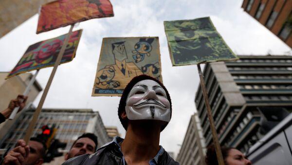 Protestas de estudiantes en Bogotá, la capital de Colombia (archivo) - Sputnik Mundo