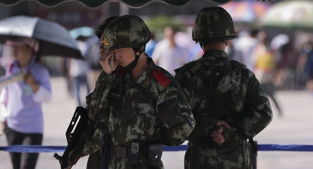 La policía militar china en la región autónoma Uigur de Xinjiang (archivo)