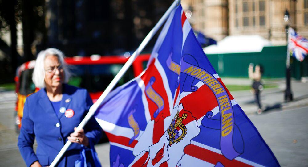 Una mujer con la bandera con nombres de condados de Irlanda del Norte