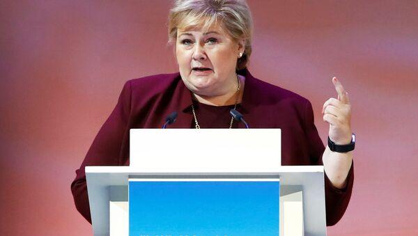 Erna Solberg, primera ministra de Noruega interviniendo en Berlín - Sputnik Mundo