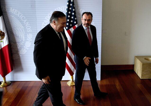 El secretario de Estado de EEUU, Mike Pompeo y el canciller de México, Luis Videgaray